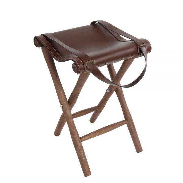 Silla de tijera con asiento en piel de bovino y patas - Patas torneadas de madera ...