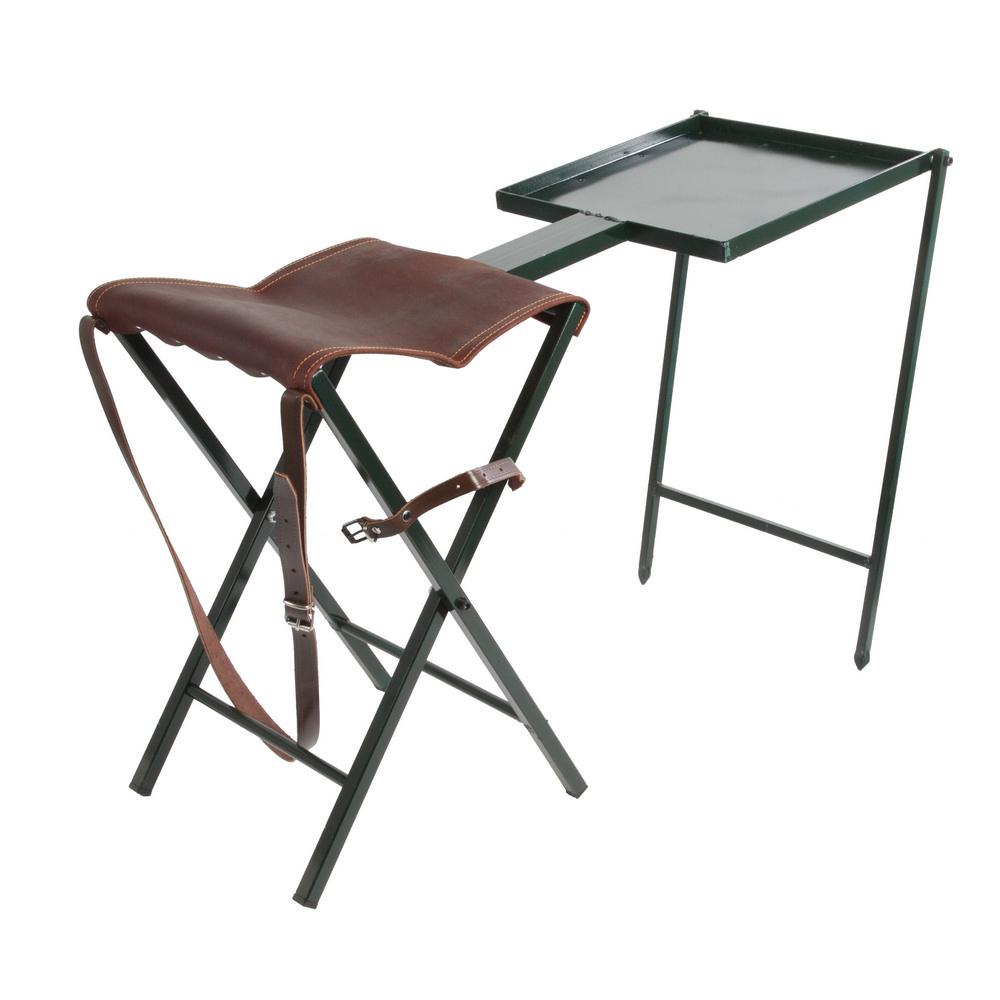 silla de tijera con asiento en piel marroquiner a almendro