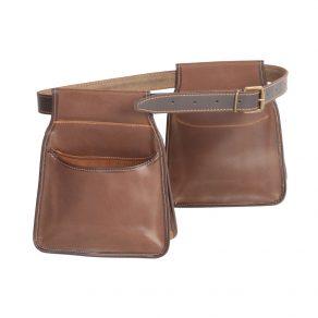 Pareja de bolsas largas con cinturón para ojeo en piel de serraje engrasada (ribeteada)