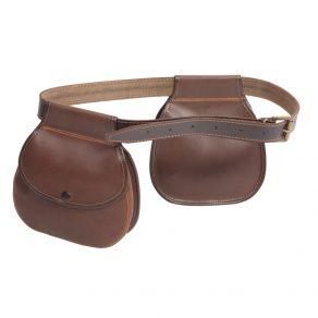 Pareja de bolsas redondas con cinturón para ojeo en piel de serraje engrasada