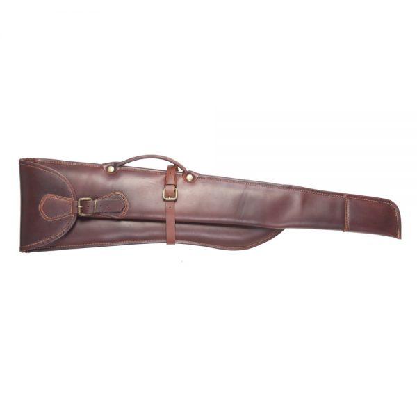 Funda para escopeta paralela desmontada en piel de bovino con compartimentos independientes forro