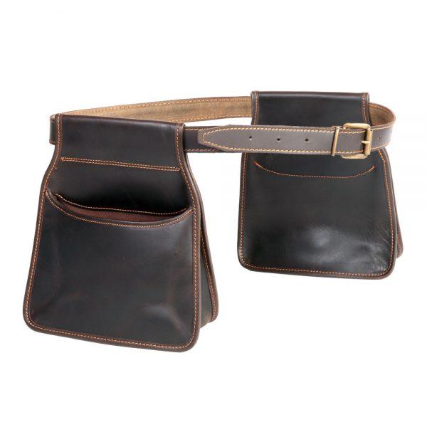 Pareja de bolsas largas con cinturón para ojeo en piel de bovino (ribeteada)