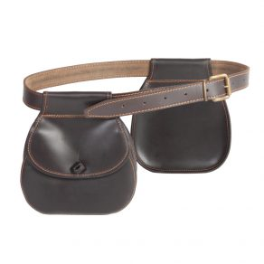 Pareja de bolsas redondas con cinturón para ojeo en piel de bovino