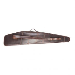 Funda para rifle-visor en piel de bovino con interior acolchado (cajón), cierre de cremallera metálica y porta escopetas en piel
