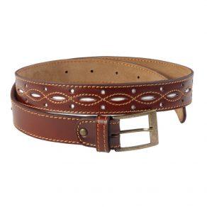 Cinturón en piel repujada